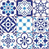 Lisbon tiles design, Azulejo vector seamless pattern, abstract and floral decoration inspired by tranditional tile art from Portug Stock Illustration