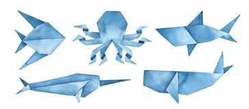 Navy blue origami collection of undersea animals: whale, shark, octopus, abstract fish and narwhal. royalty free illustration