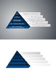 Navy blue pyramid diagram. A navy blue pyramid structure with company departments and blank. Great for diagrams. Vector file available - easy to edit Royalty Free Stock Image