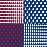 Navy Blue Red Water Drops Background. Vector Illustration Stock Photos