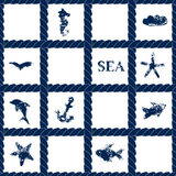Navy blue rope lattice on white geometric seamless pattern with grunge sea symbols - fishes, dolphin, anchor, starfish, vector vector illustration