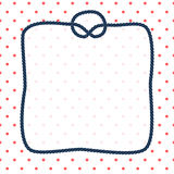 Navy blue rope square frame with a knot on dotted white background, vector. Template Stock Photos