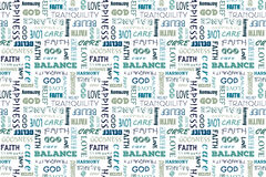 Navy blue seamless pattern with words: love, peace, balance, happiness, faith, God, belief, care, goodness, tranquility. Navy blue seamless pattern with words Stock Image