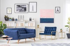 Navy blue sophisticated living room. Navy blue sofa in sophisticated living room interior with armchair against the wall with gallery of posters Stock Image