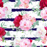 Navy blue striped floral seamless vector print with peony, alstroemeria lily, mint eucaliptus on white. Stock Photo