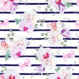 Navy blue striped seamless vector print in purple, pink and white tones with bows. Peony, violet campanula, orchid, bell flower, eucalyptus. Simple backdrop stock illustration