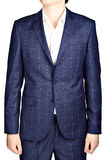 Navy blue suit blazer plaid men wedding dress bridegroom, isolat Stock Photography