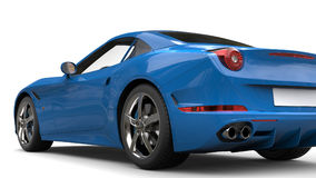 Navy blue super sports car - tail view. Isolated on white background Royalty Free Stock Photo