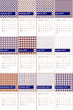 Navy blue and tabasco colored geometric patterns calendar 2016 Royalty Free Stock Images