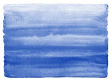 Navy blue watercolor texture with uneven, rounded edge. Marine, maritime watercolour striped horizontal gradient fill. Painted background with aquarelle stains vector illustration