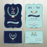 Navy Blue Wedding Invitation Card with Save the Date Set Stock Images
