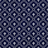 Navy Blue and White Celtic Cross Symbol Tile Pattern Repeat Back Stock Photo