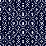 Navy Blue and White Cross Symbol Tile Pattern Repeat Background Royalty Free Stock Photos