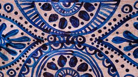 Navy blue and white detailed pottery pattern. Background stock photo
