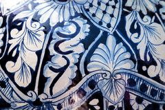 Navy blue and white detailed pottery pattern. Background royalty free stock photography