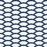 Navy blue and white geometric wave stone mosaic seamless pattern, vector background Stock Image