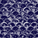 Navy blue and white grunge scallop geometric seamless pattern, vector. Background Royalty Free Stock Photo