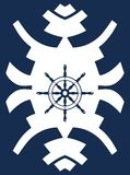 Navy blue and white hipster ornament with rudder Stock Photos