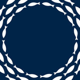 Navy blue and white simple fishes circle frame, vector Stock Photography