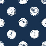 Navy blue and white sponge print polka dot grunge seamless pattern, vector royalty free illustration