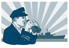 Navy captain with binoculars. Vector art on the navy stock illustration