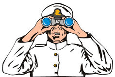 Navy captain with binoculars Stock Photos