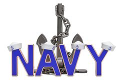 Navy concept with anchor, 3D rendering. Isolated on white background Royalty Free Stock Images