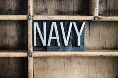 Navy Concept Metal Letterpress Word in Drawer Royalty Free Stock Photos