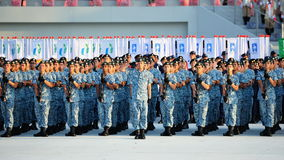 Navy contingent saluting during NDP 2012 Royalty Free Stock Images