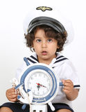 Navy costume. Baby boy in Halloween navy costume Royalty Free Stock Images
