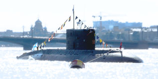 Navy Day. Army celebrate this day on river Neva in Saint-Petersburg on 2014 year Royalty Free Stock Photography