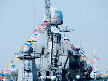Navy Day. Army celebrate this day on river Neva in Saint-Petersburg on 2014 year Royalty Free Stock Photo