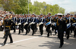 Navy drummers at russian veteran's parade. Royalty Free Stock Images