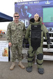 Navy Explosive Ordnance Disposal specialist with bomb squad suit during Fleet Week 2015. NEW YORK - MAY 21, 2015: Navy Explosive Ordnance Disposal specialist Stock Photo