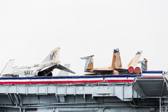 Navy Fighter Jets on Deck of Midway Royalty Free Stock Photography