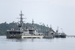 Navy Fighter ships afloat at the bay. 4 Royal Navy Fighter ships afloat at the bay Stock Photography