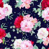 Navy floral seamless vector print with burgundy red and pink peony, alstroemeria lily, mint eucalyptus. Confetti triangles speckled graphic backdrop stock illustration