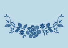 Navy flower embroidery  artwork design for neckline clothing Royalty Free Stock Photo