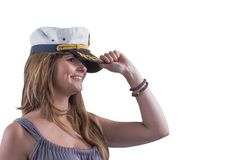 Navy headgear. Attractive brave girl with dimples and marine cap Royalty Free Stock Photos