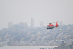 Navy Helicopter, Chile. Vina del Mar, Chile - December 12, 2008: Chilean Navy Eurocopter AS365 F Dauphin rescue helicopter flaying over sea in Vina del Mar Royalty Free Stock Photos