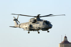 Navy helicopter on departure Royalty Free Stock Photo