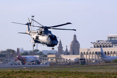 Navy helicopter on departure Stock Images