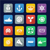 Navy Icons Flat Design Stock Photography
