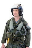 Navy jet fighter pilot isolated. Navy fighter pilot in flight suit isolated over white background Stock Image