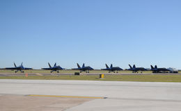 Navy jets parked on the ground Royalty Free Stock Image