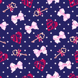 Navy keys from valentines heart and pink satin bows seamless vec. Tor pattern. Polka dot backdrop Royalty Free Stock Image