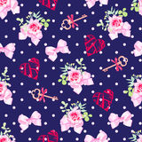 Navy keys from valentines heart, small rose bouquets and pink sa. Tin bows seamless vector pattern. Polka dot backdrop Stock Images