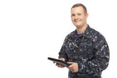 Navy man with digital tablet Stock Images