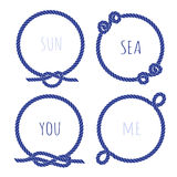 Navy marine rope round vector design frame set Royalty Free Stock Photos