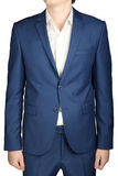 Navy mens casual suit,  isolated on white. Royalty Free Stock Images
